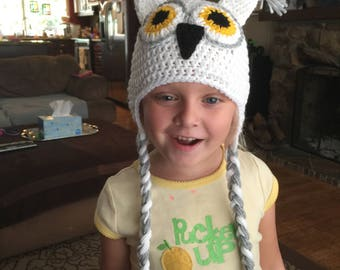 White Owl Hat/ Beanie  - All Sizes - Child - Adult - Baby