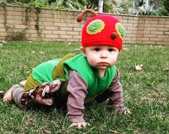 Crocheted Hungry Caterpillar Beanie Hat costume - Any Size  sc 1 st  Etsy & Caterpillar costume | Etsy