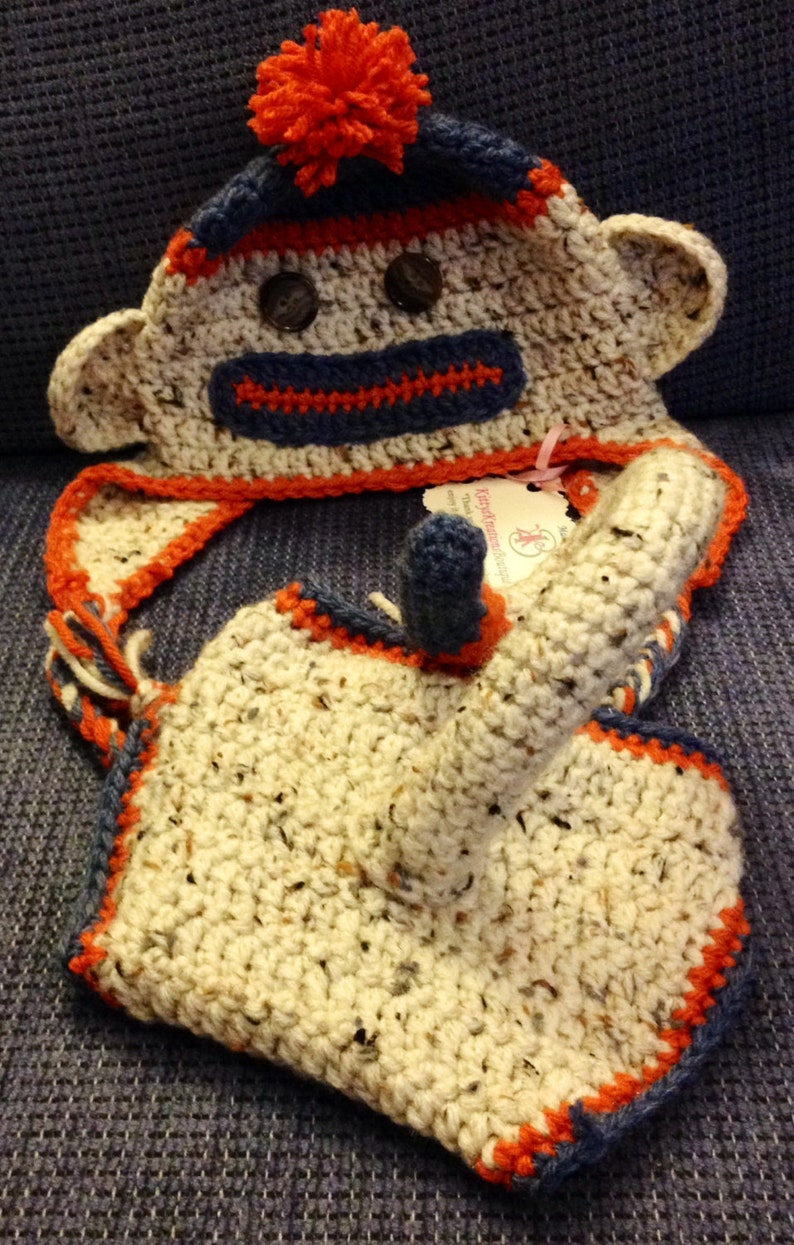 Super Cute Sock Monkey Hat/ Beanie with Diaper Cover  Any image 0
