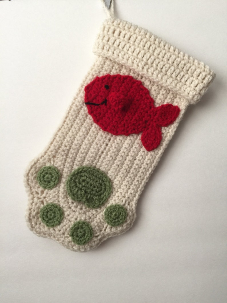 Cat Christmas Stocking  Paw  Fish  Hanging  Cute  Any image 0
