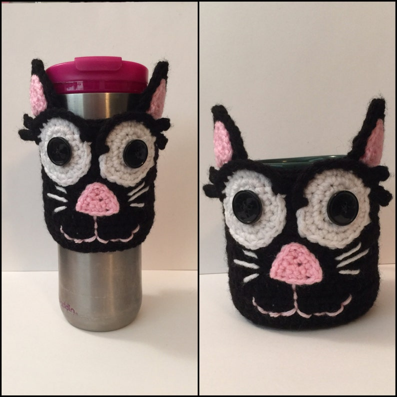 Cat Coffee/ Tea Cup/Travel Mug Cozy/ Sleeve  Open or Closed image 0