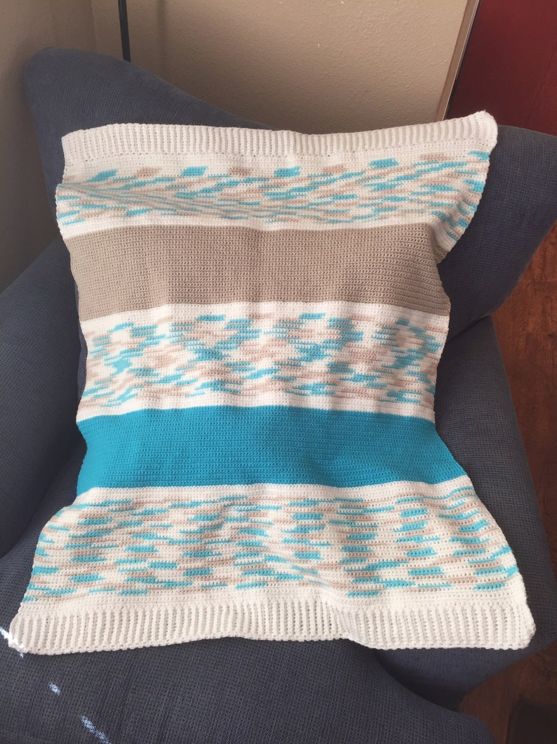 Handmade Crocheted Warm & Cozy Beautiful Striped/ Block image 0