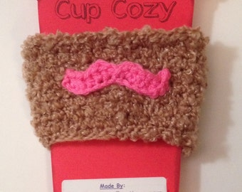 Mustache Coffee/ Sippy Cup Cozy - Perfect for a Man - Any Color Available