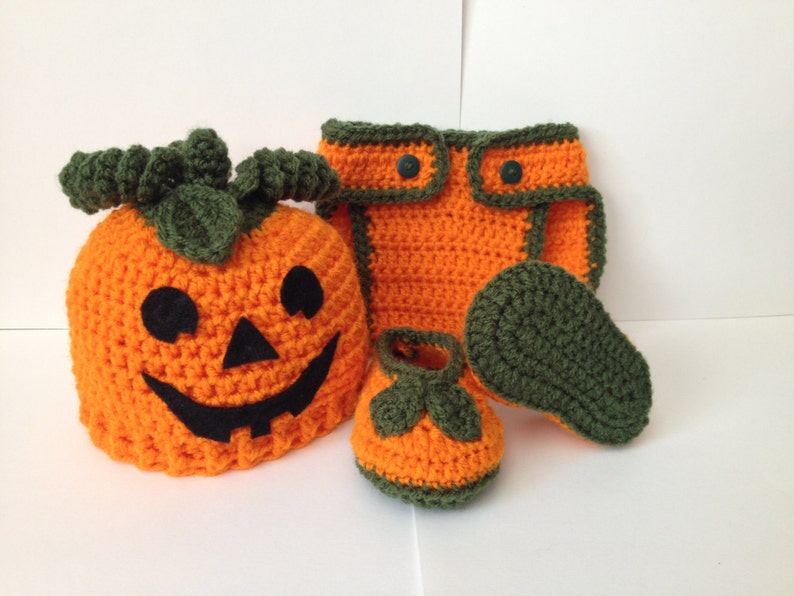 Handmade Crocheted Pumpkin Outfit / set Photo Prop  image 0