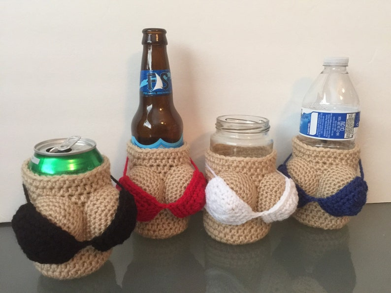 Crocheted Naughty Silly Boob Breast Can Bottle Cozy  image 0