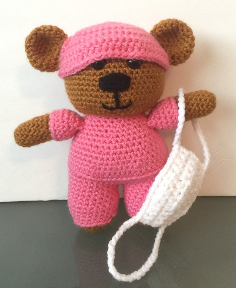 Super Cute crocheted Nurse/ Doctor Bear with Face Mask Plush image 0