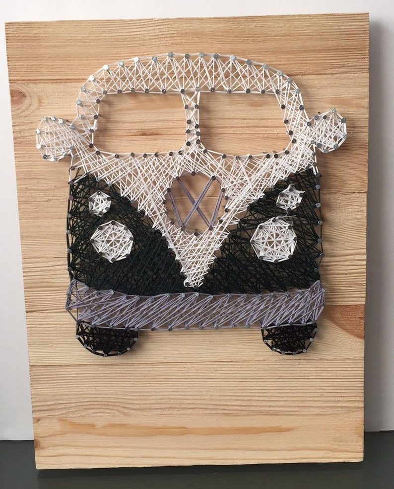 VW Bus String Art Wall Decor Family Any Color image 0
