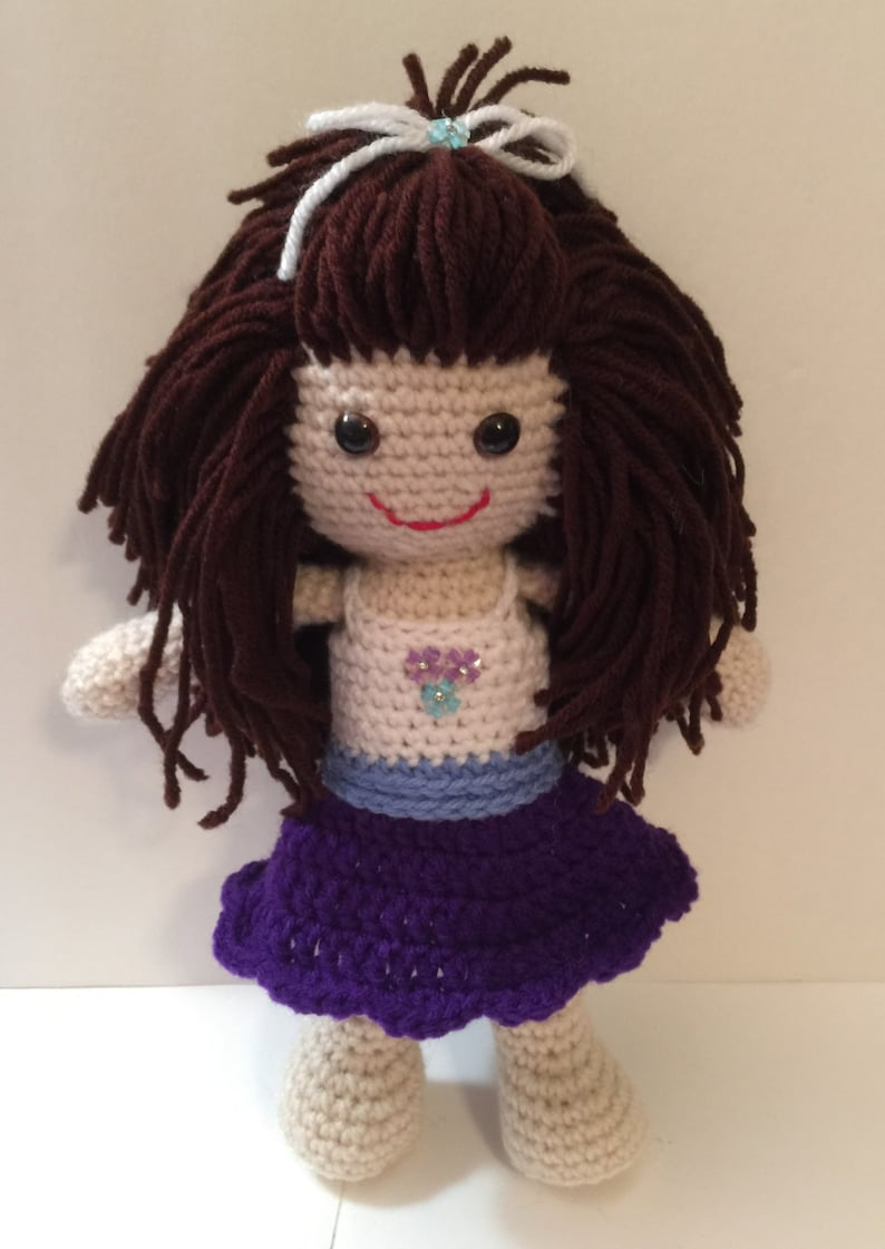 Hand Crocheted Doll  12 Tall  With cute dress and hair image 0