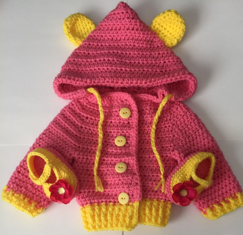 Handmade/crocheted Hooded Sweater  3 Months To 4T Any Color image 0