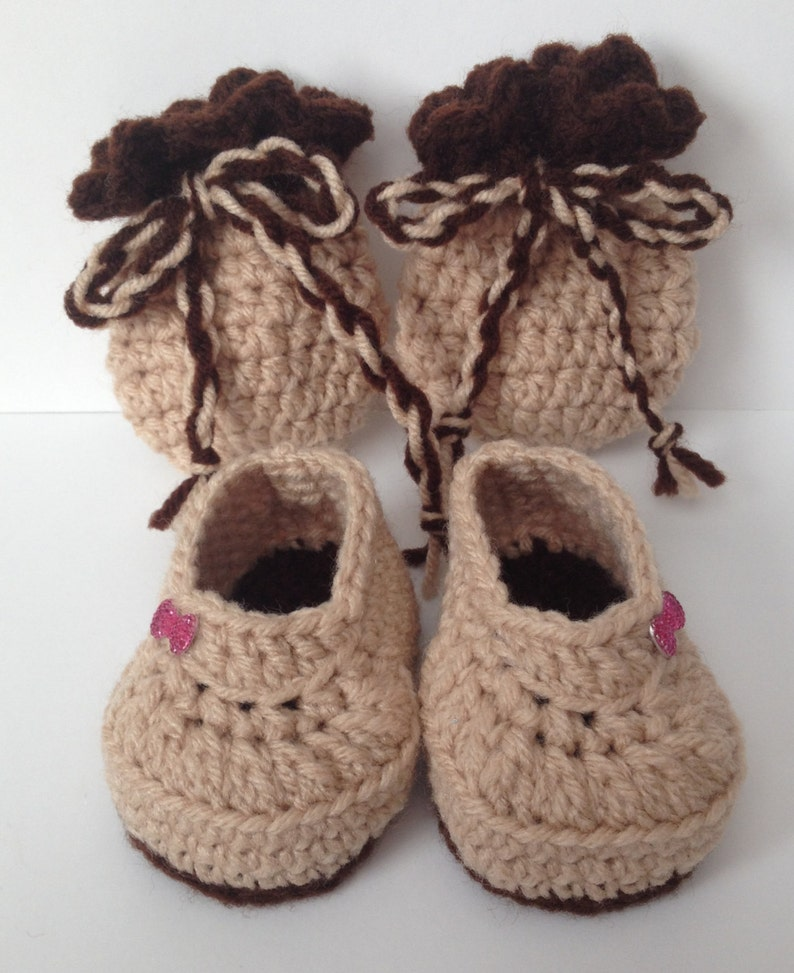 Adorable Hand Crocheted Booties w/ Matching Mittens  Any image 0