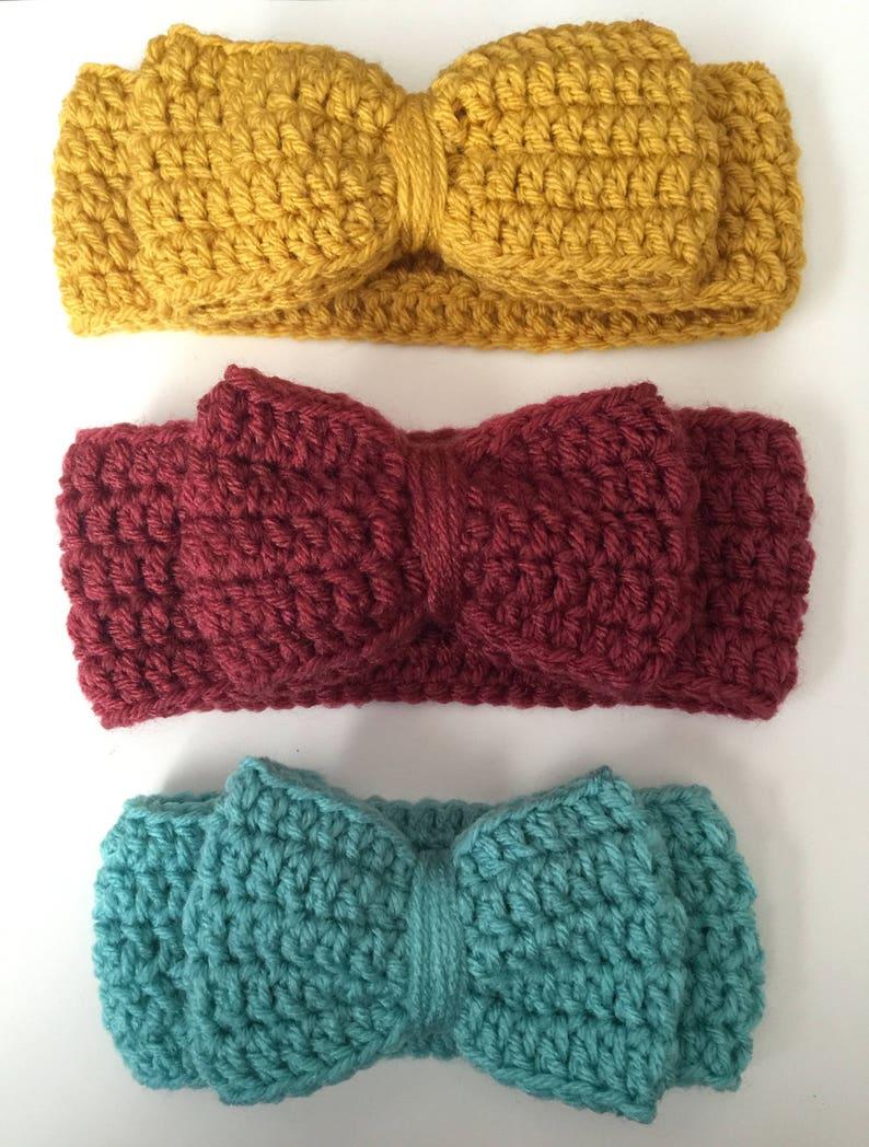 Big Bow Headband/ Ear warmer  Any color & Size Available image 0