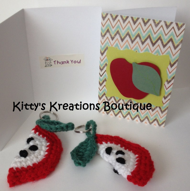 Crocheted Apple Slice KeyChain  Matching Card  Green or Red image 0