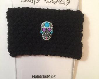Hand Crocheted Coffee/ tea/ Mug/ Cup Cozy - Sugar skull, dios de las muertos, day of dead