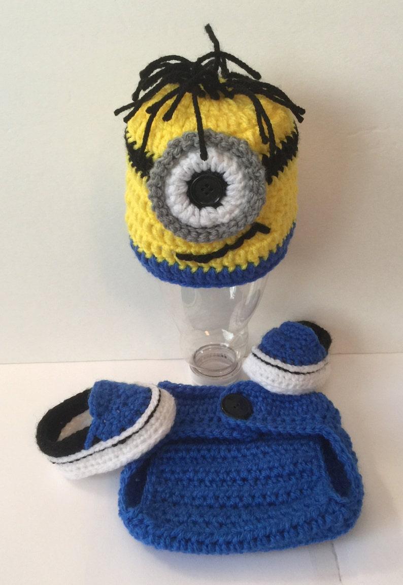 Super Cute Child's Minion Hat/ Beanie w/ Matching Diaper image 0