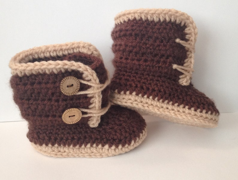 Front Tie 2 Button Closure Boots Booties Shoes Newborn to 12 months Any Color Combo