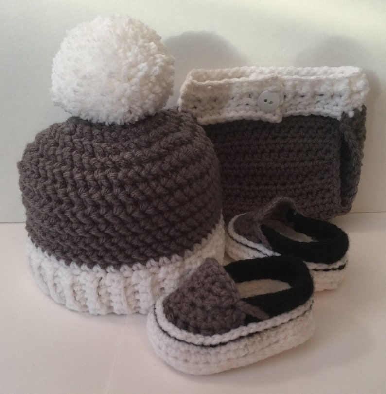 Adorable Hand Crocheted Vans Beanie and Diaper Cover  Any image 0