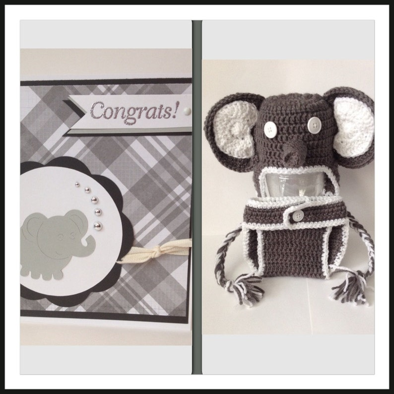 Elephant Baby Outfit Set Beanie Hat Diaper Cover Photo image 0
