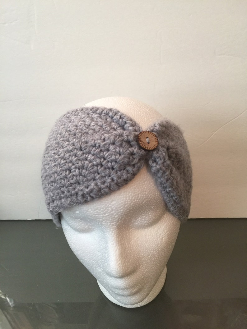 Button Front Cinched Turban Headband Ear Warmer Hope image 0