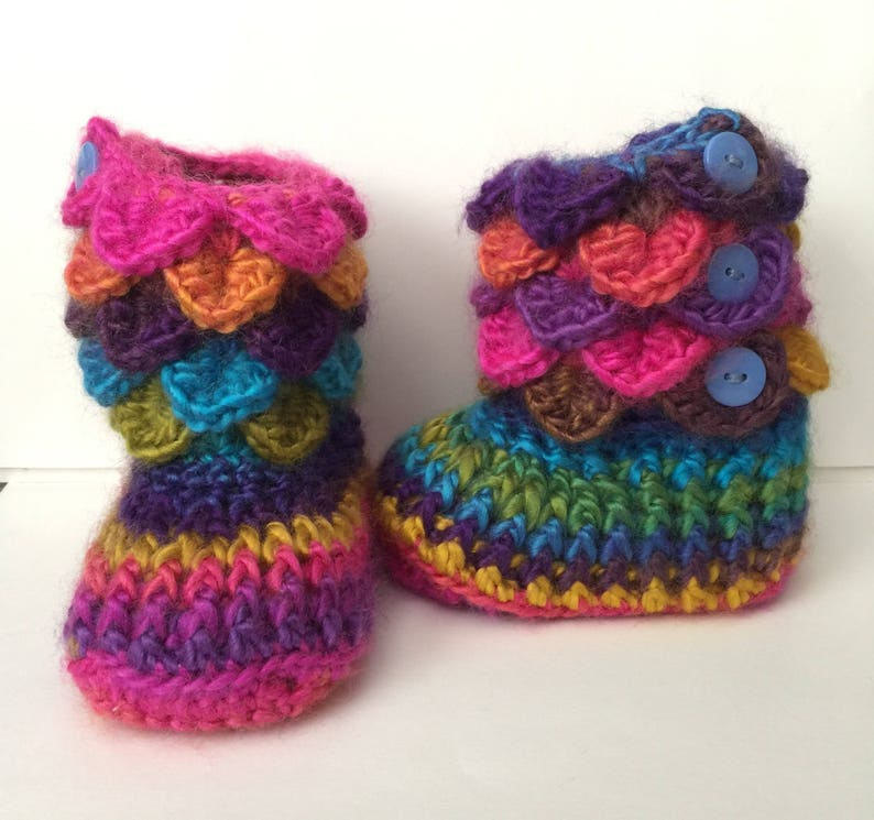 Crocheted Crocodile Rainbow Boots w/ 3 Button Side Closure  image 0