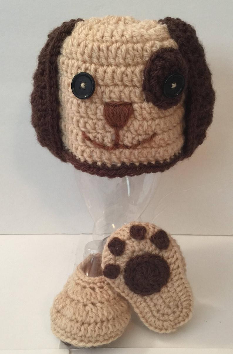 Puppy Dog Beanie Hat crocheted photo prop  Beanie image 0
