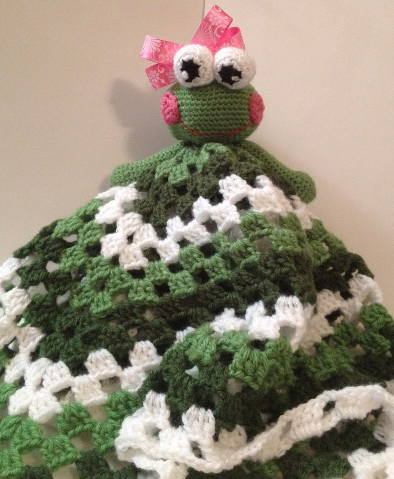 Handmade Crocheted Lovey with Frog Head  Any color & 3 image 0
