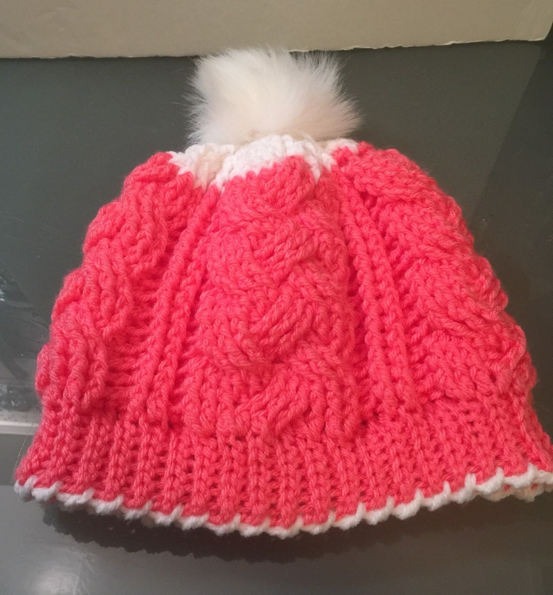 fits most Braided Cable Beanie Slouch Hat w Faux Fur Pom Pom Any Color