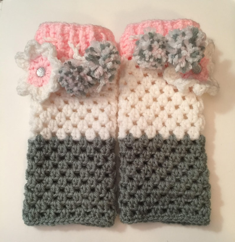 Hand Crocheted Leg Warmers Kids Girls Warm & Cozy for Fall image 0