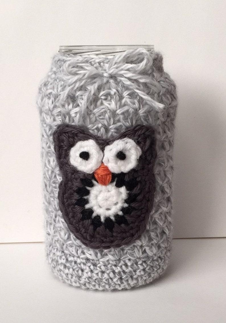 16oz Mason Jar tea light holder home decor crocheted cute image 0
