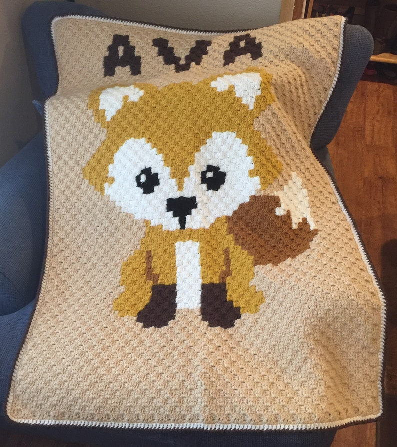Crocheted Fox Baby Blanket  Customized  Any Color  35 image 0