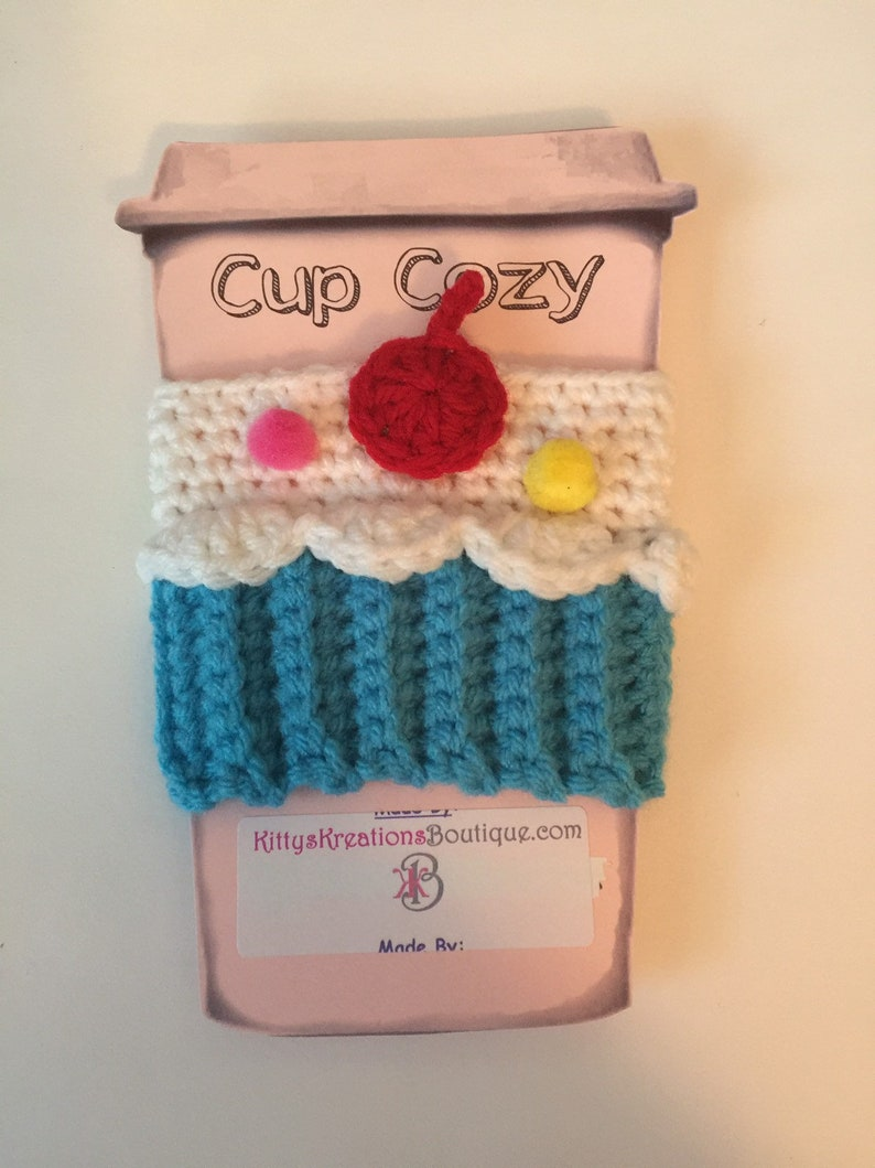 Cupcake Coffee Cup/ Mug Cozy  Cherry & Sprinkles image 0