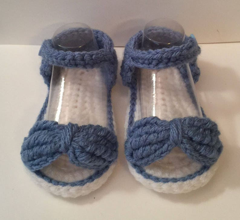 Perfect Baby Shower Gift Handmade Crochet Sandals Bow Button image 0