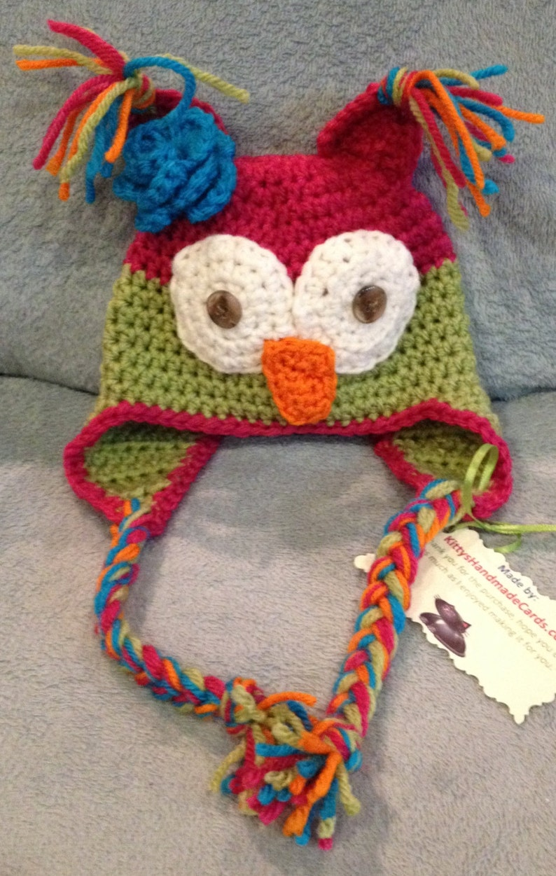 Super Cute Owl Beanie/ Hat with Ears Diaper CoverPlush  Any image 0