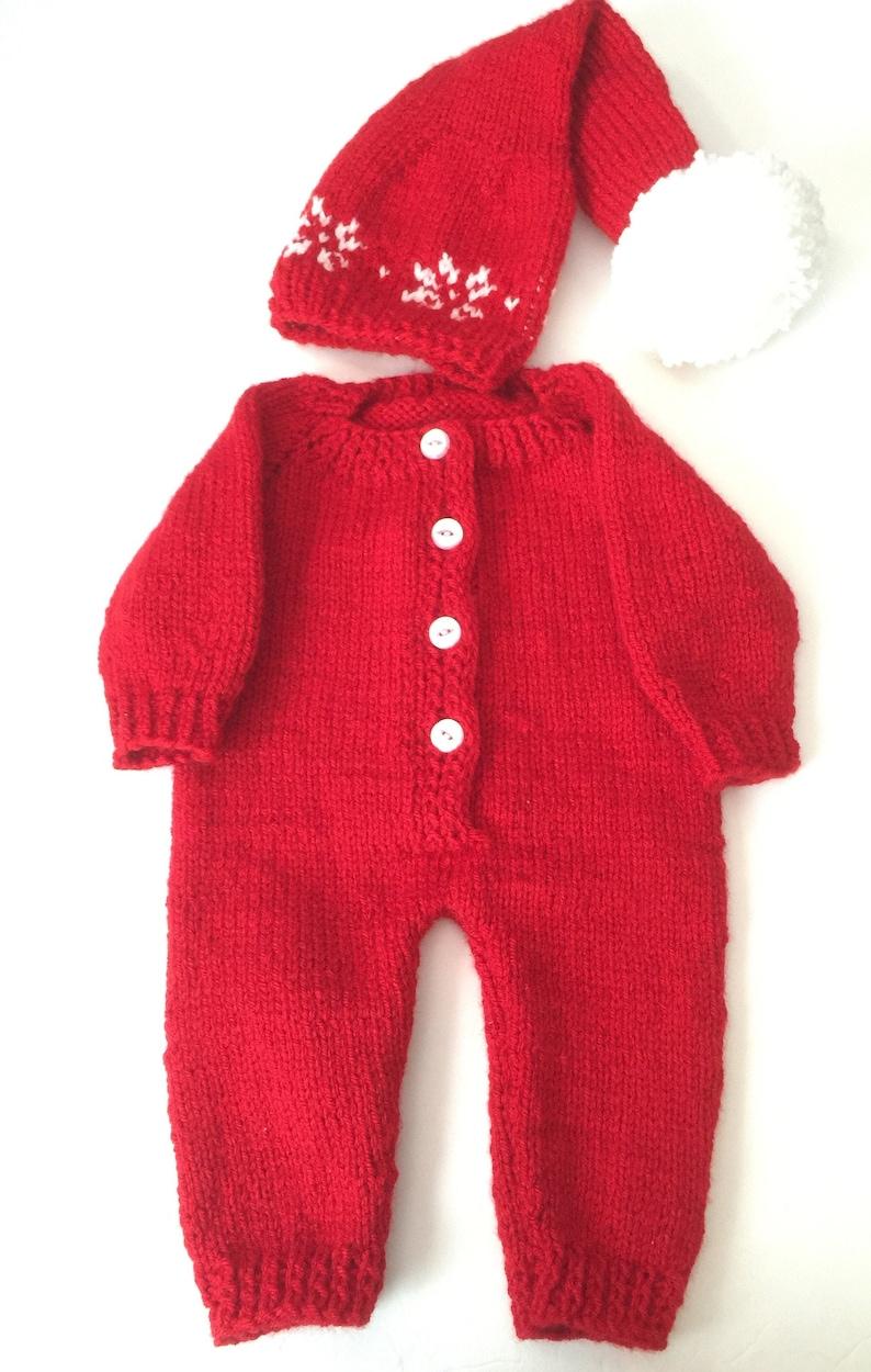 Knitted Onesie Pjs pajamas Christmas Santa Elf Hat image 0