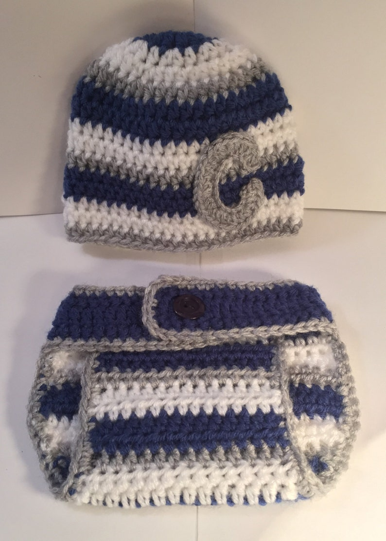 Striped Pattern Beanie w/ Monogram and matching Diaper Cover  image 0