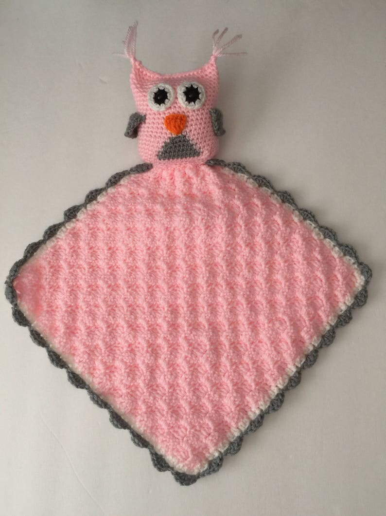 Handmade Crocheted Lovey with Owl  Any colors image 0