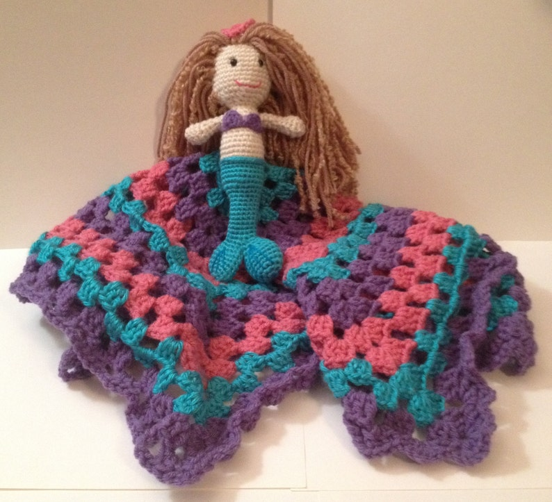Handmade Crocheted Lovey with Mermaid  Any color & 3 sizes image 0