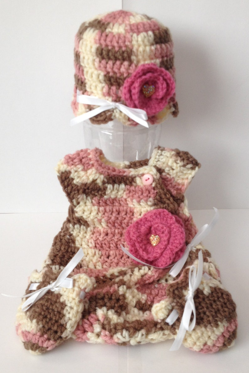 Hand Crocheted Preemie Sack with Matching Hat & Mittens  Any image 0