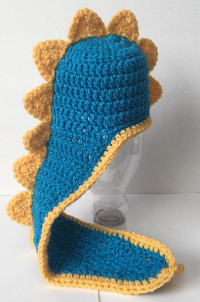 Cute Crocheted Hat/Beanie Hoodie Scoodie Hooded Dino image 0