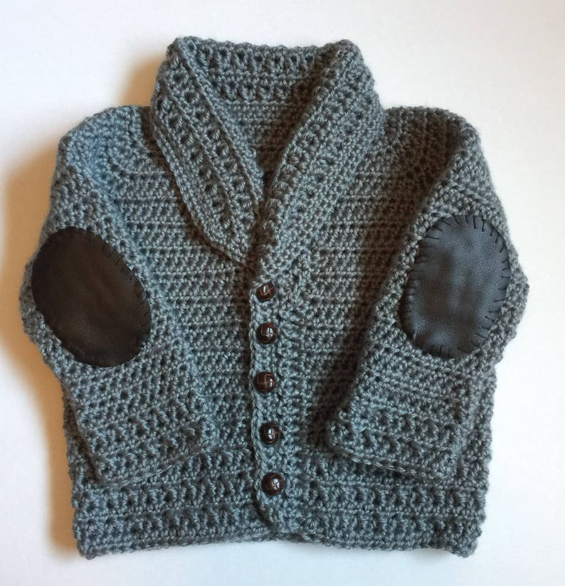Handmade Crocheted Cardigan Sweater with Elbow Patches  Any image 0