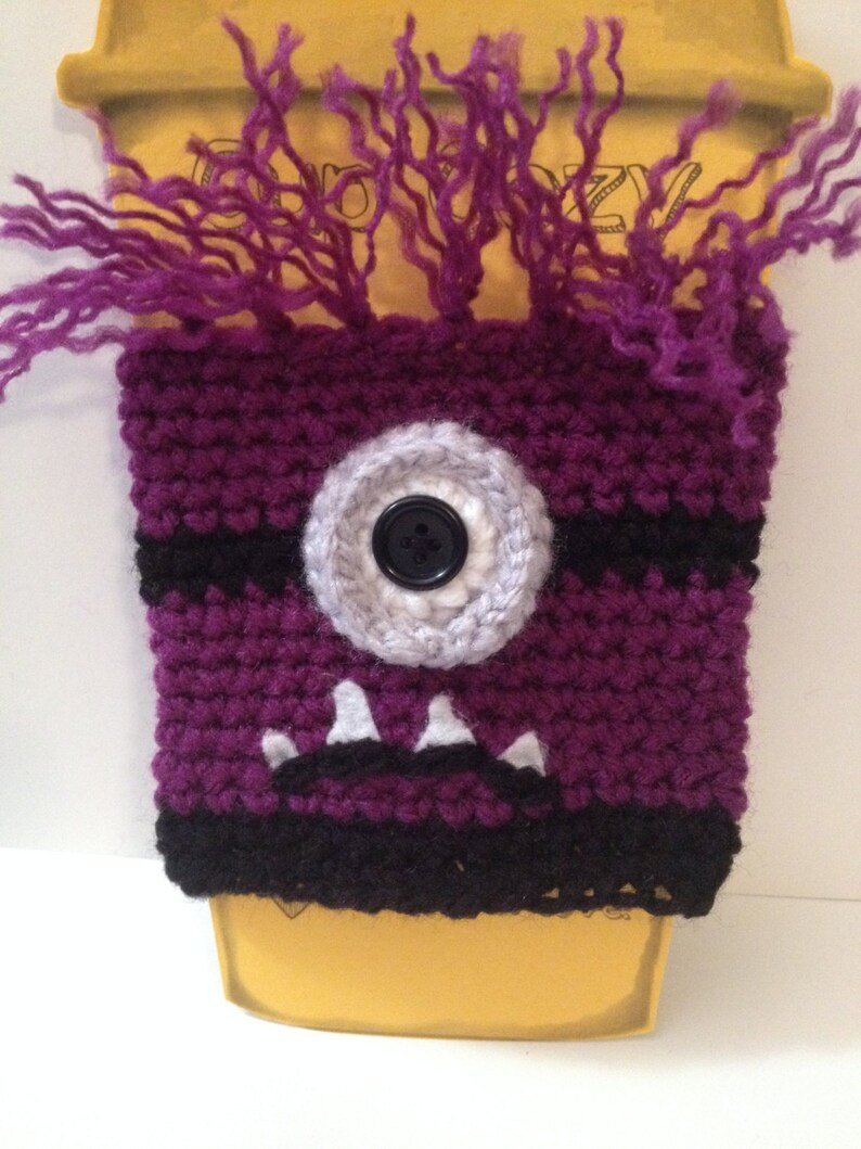 Cute Evil Minion Coffee/ Sippy Cup Cozy  One or two eyes image 0