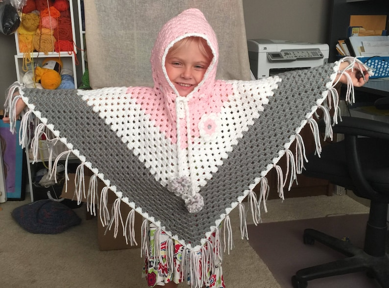 kids girls Cozy Warm Poncho/ Throw Sweater  Any Color  image 0