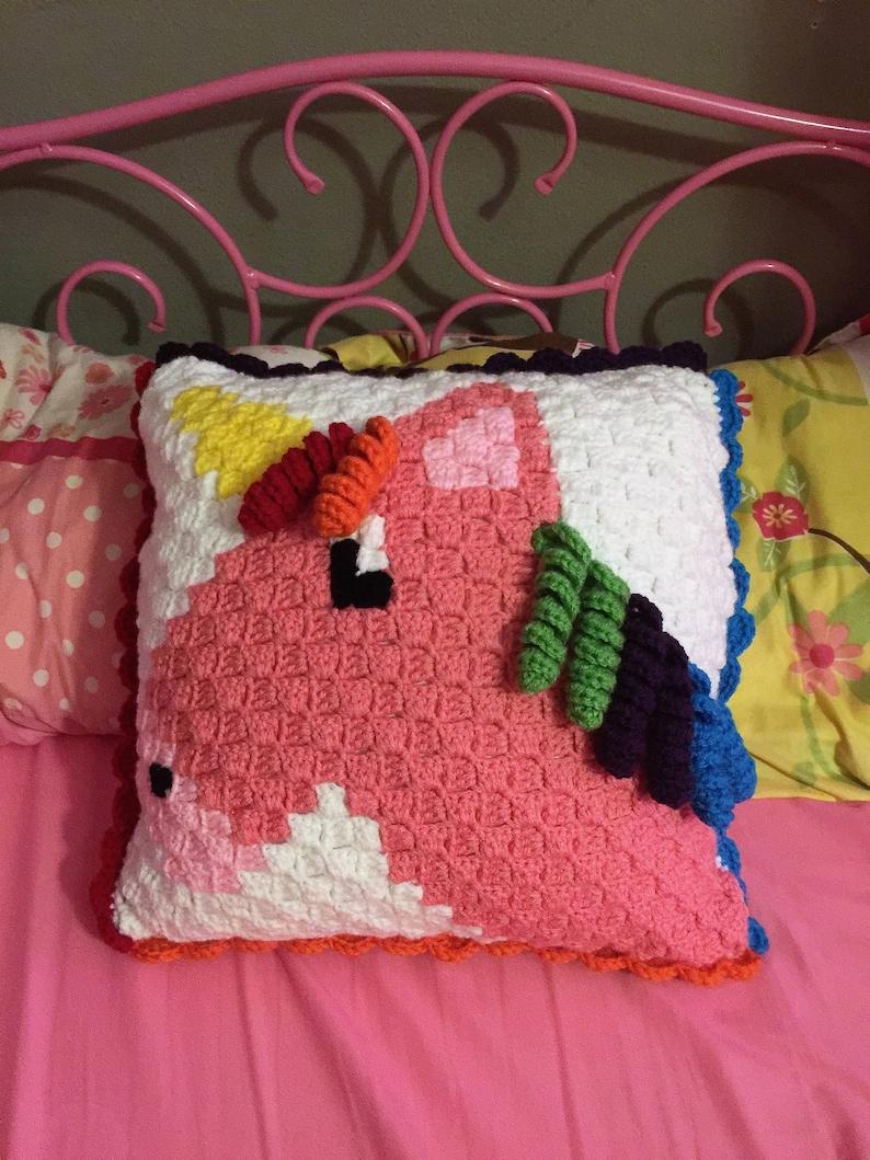 Hand Crocheted Horse Unicorn Rainbow Home Decor Accent image 0