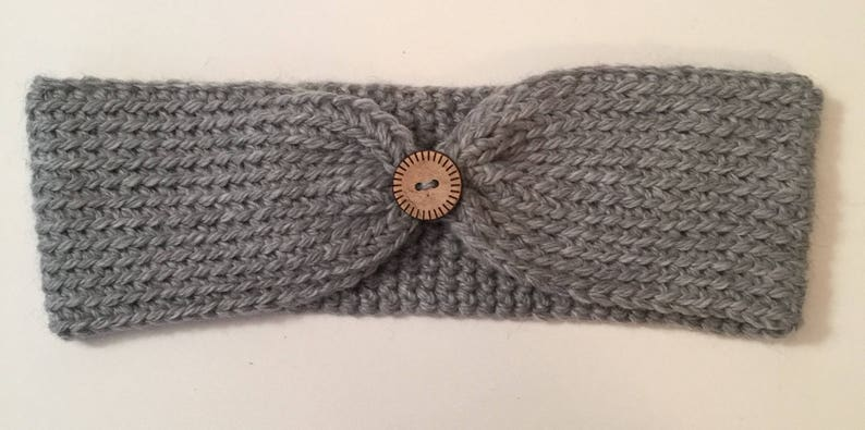 Button Front Cinched Turban Headband Ear Warmer  Any color image 0