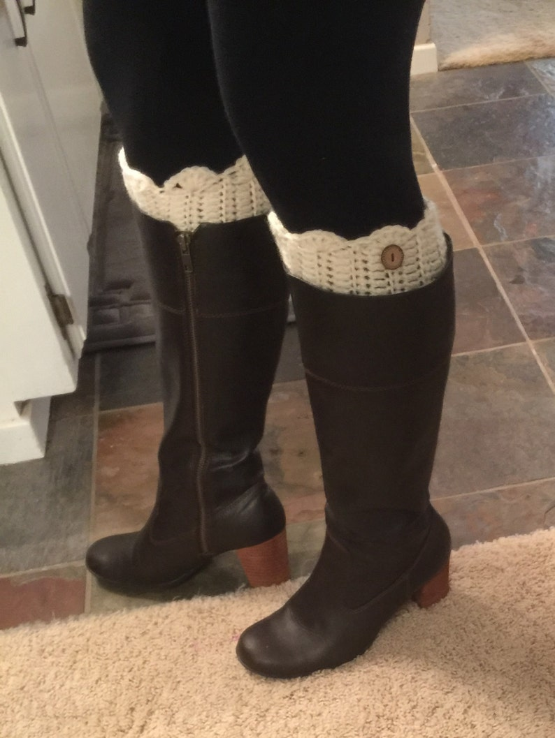 Handmade Crocheted Boots Cuffs w/ Scallop Edge  Any Color image 0
