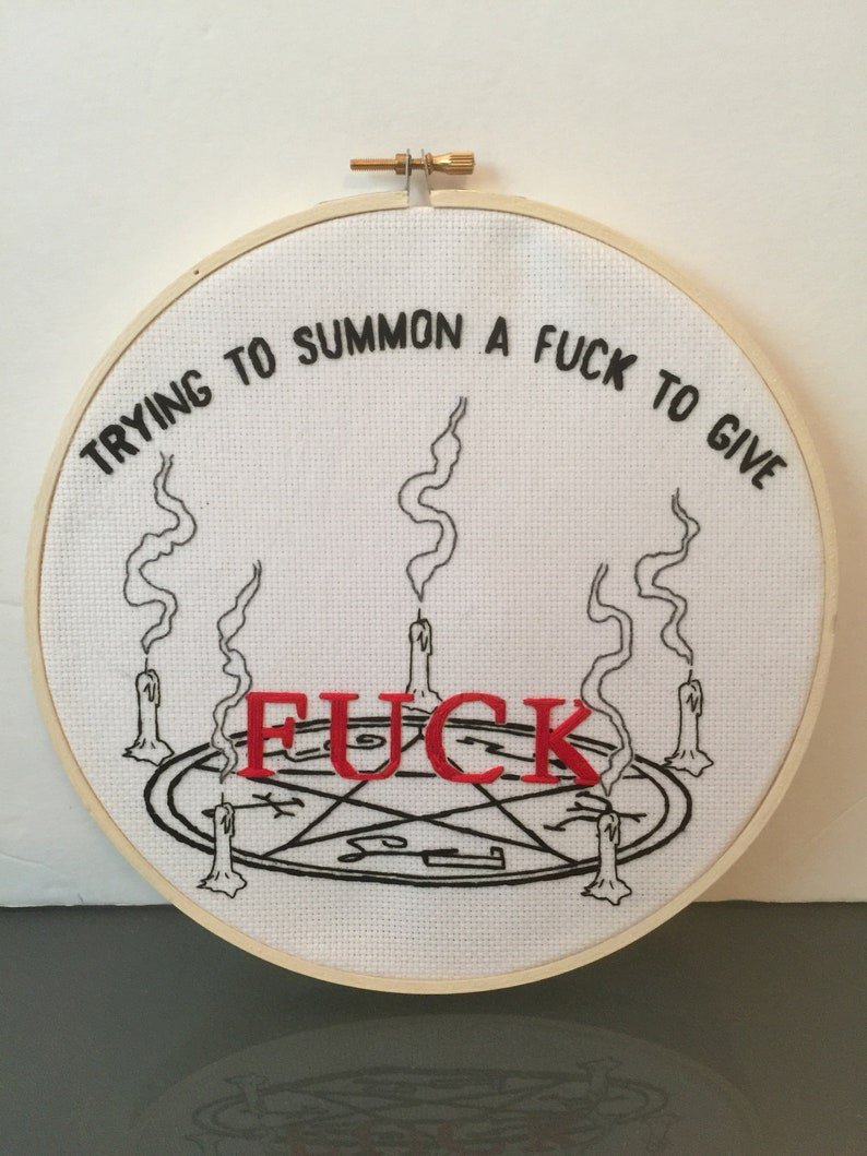 Hand Stitched 8 Hoop   FK  Silly Funny Embroider image 0