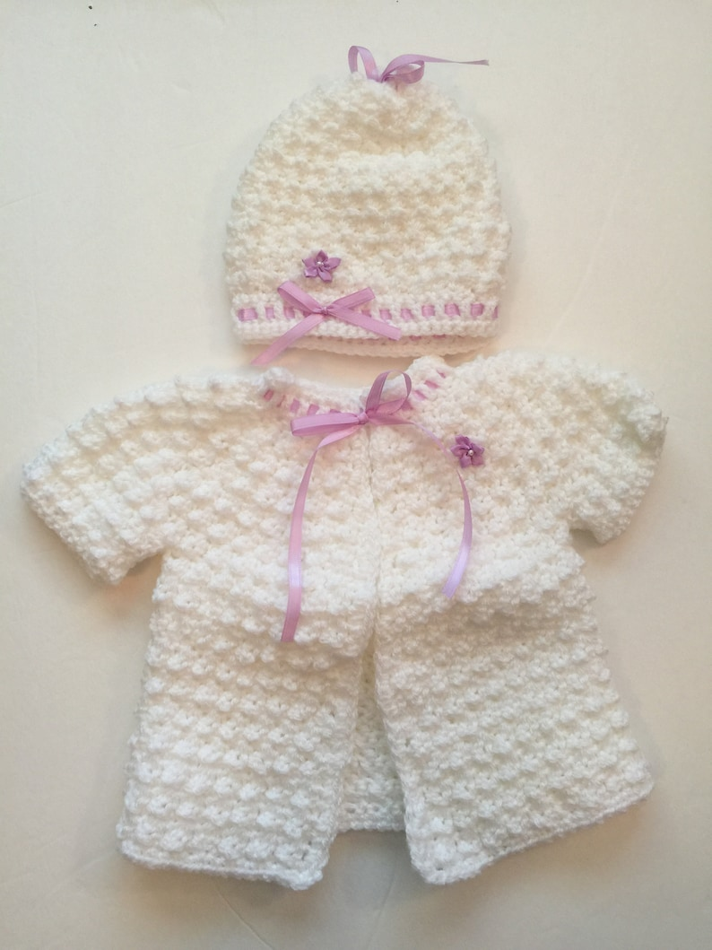 Handmade Crocheted Short Sleeve Cozy Sweater w/ Matching Hat  image 0