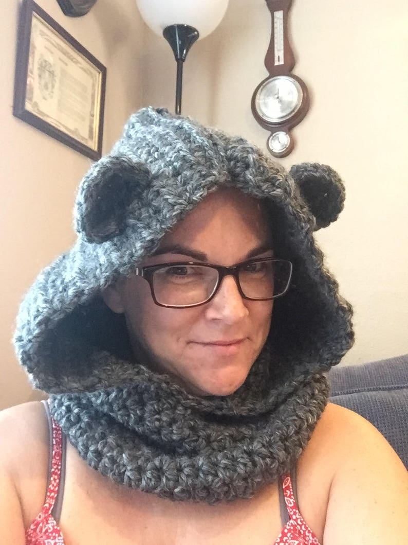 Bear Hooded Cowl  6 Sizes  Any Color Cute crochet warm image 0