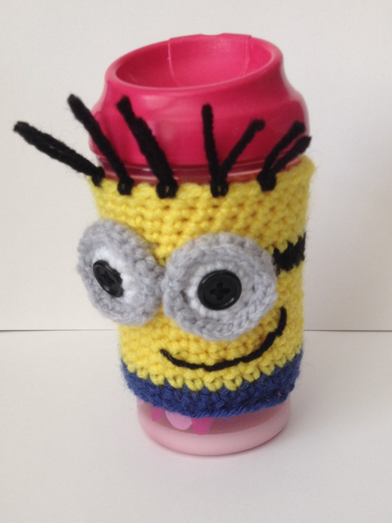 Cute Minion Coffee/ Sippy Cup Cozy  One or two eyes available image 0