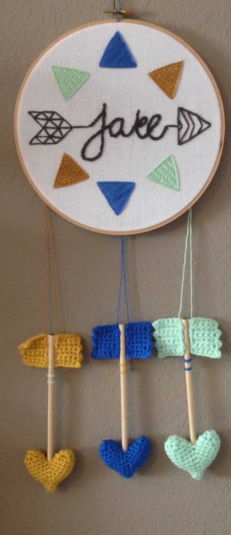 Hand Stitched 8 Hoop w/ Hanging Heart Arrows  Any Color image 0