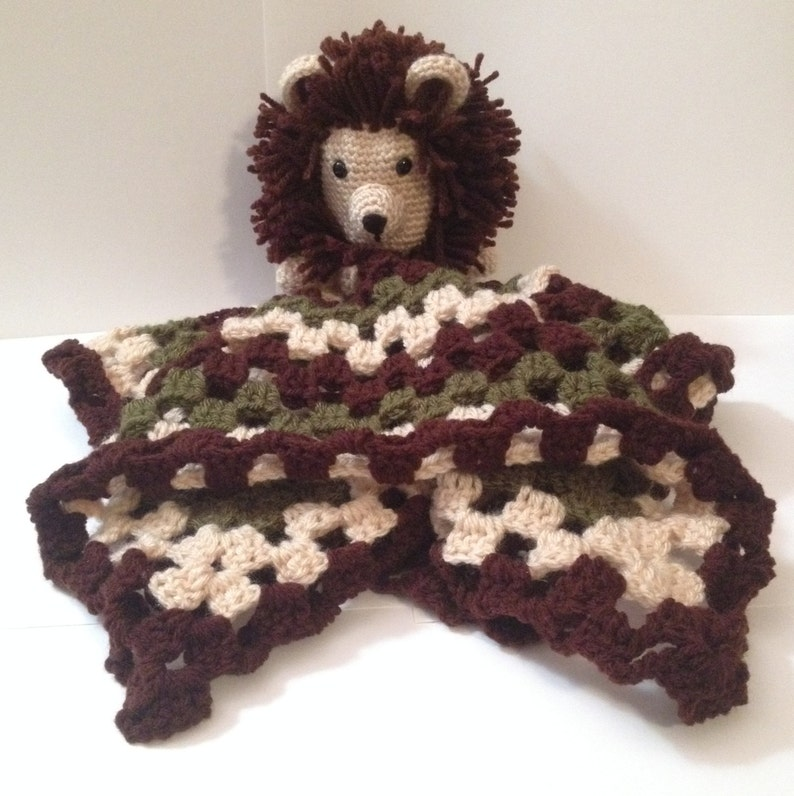 Handmade Crocheted Lovey with Lion Head  Any color & 3 sizes image 0